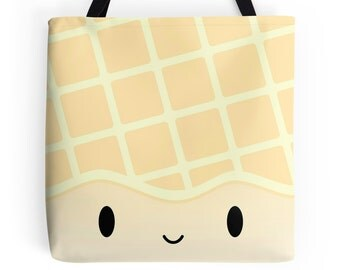 "Dimsum Tote - ""Jumbo Pineapple Bun"" [Canvas Tote, Cute Tote Bag, Cute Bag, Kawaii Bag, Foodie Gift, Girlfriend Gift, Food Tote, Grocery Bag]"