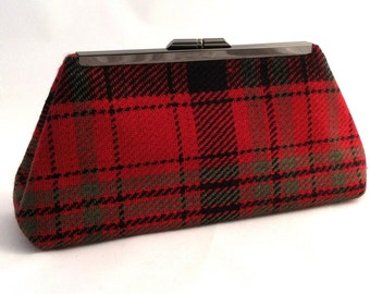 Red and Black Tartan Purse Handbag ~ Red and Black Evening Clutch Purse ~ Red and Black Purse