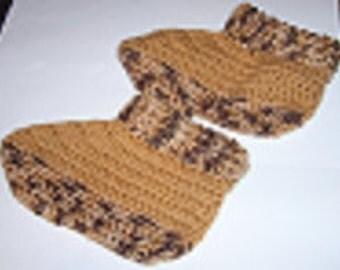 Golden crochet slippers