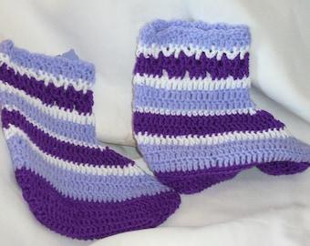 Purple Lilac Crochet Slippers