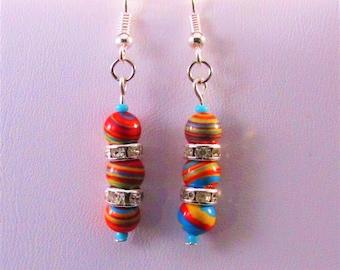 Multicolor Stripe Glass Drop Earrings