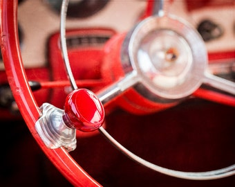 1956 Ford Victoria, Ford Fairlane, Steering Wheel, Steering Wheel Knob, Raven Red, Vintage Car, Classic Car, Old Car, Gift for Man, Man Cave