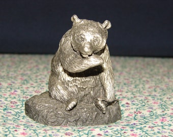1978 Fine Pewter, Bear with Fish, Convo to Bundle Ship. Marked: Fine Pewter 3589 USA, Signed HL DEATON (c) 1978 Hudson, Vintage, Bears