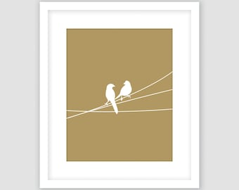 White Birds on a Wire Print, Gold Animal Wall Art, Modern Art, Instant Download, DIY, Printable