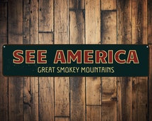 See America Sign, Personalized Favorite Location Sign, Great Smokey Mountains Sign, Custom Destination Sign - Quality Aluminum ENS1001722