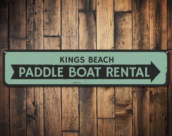 Paddle Boat Rental Sign, Personalized Beach Arrow Sign, Custom Beach Location Shop Sign, Beach House Decor - Quality Aluminum ENS1001247