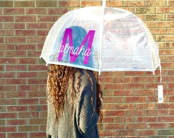 Custom monogram umbrella clear dome wedding gift