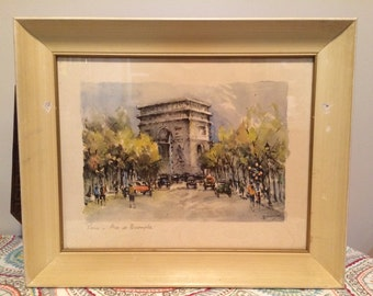 Vintage 1960's MCM Art Lucien Delarue Watercolor Litho Print Paris France Arc De Triumphe