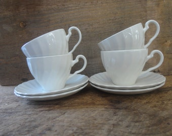 Ironstone/Johnson Brothers/Set of 4 Cups and Saucers/ Vintage Ironstone/White Ironstone