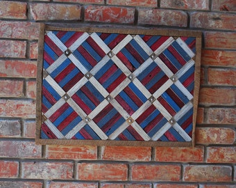 Red, White, and Blue Rustic Wall Hanging, 27 x 19.5 inches