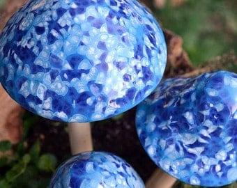 Frosty Blue Ceramic Mushroom. Outdoor Decoration. Garden Accessory.
