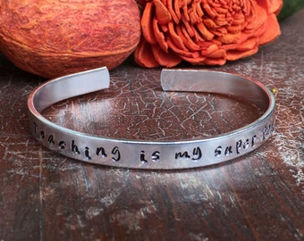 "Teaching Is My Super Power - Cuff Bracelet Personalized 1/4"" Adjustable Smooth Organic Texture Artisan Handmade Custom Jewelry"