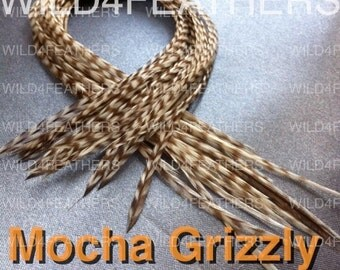 "4pc Mocha GRIZZLY Feathers + 1pc BlueOcean Fade Solid Feathers in Standard Lengths:8""-9.6""inches/ 20-24cm,AustSLr"