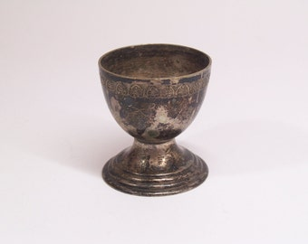 antique silver plated egg cup / egg holder