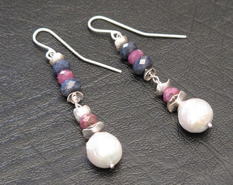 Earrings silver massive 950, rubies, sapphires and pearls Baroque