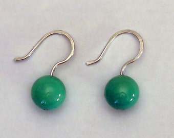 Agate green grass and Silver earrings massif