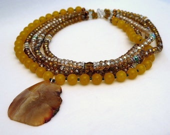 Necklace yellow jade, agate, Austrian Crystal and silver Sterling