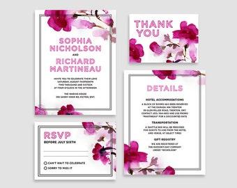 Pink wedding invite - Sophia Wedding Invitation Suite - Printable, floral, pink, feminine, watercolour, wedding invite