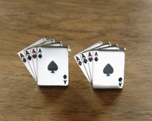 Cards Cufflinks, Pack of Cards Cufflinks, ace of cards cufflinks, playing cards cufflinks,poker, roullete,ace of spades