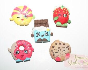 5x Edible 4-6cm Shopkins Fondant Cake Cupcake Toppers