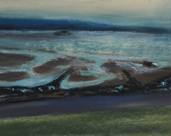 "Scotland original pastel painting, ""Firth of Forth"", 10 x 15 cm, landscape by the sea at low tide, with or without frame,."