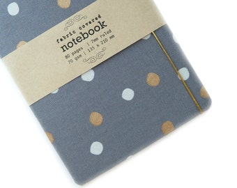 Pale Grey Dots Upcycled Fabric Notebook