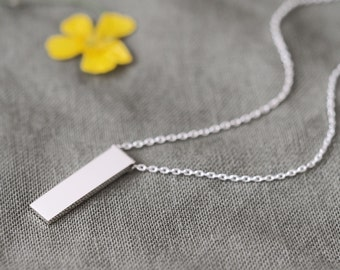 Minimal Bar Necklace 925 Sterling Silver Minimalist Jewelry