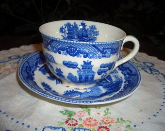 Vintage Blue Willow Cup and Saucer...Made in Japan