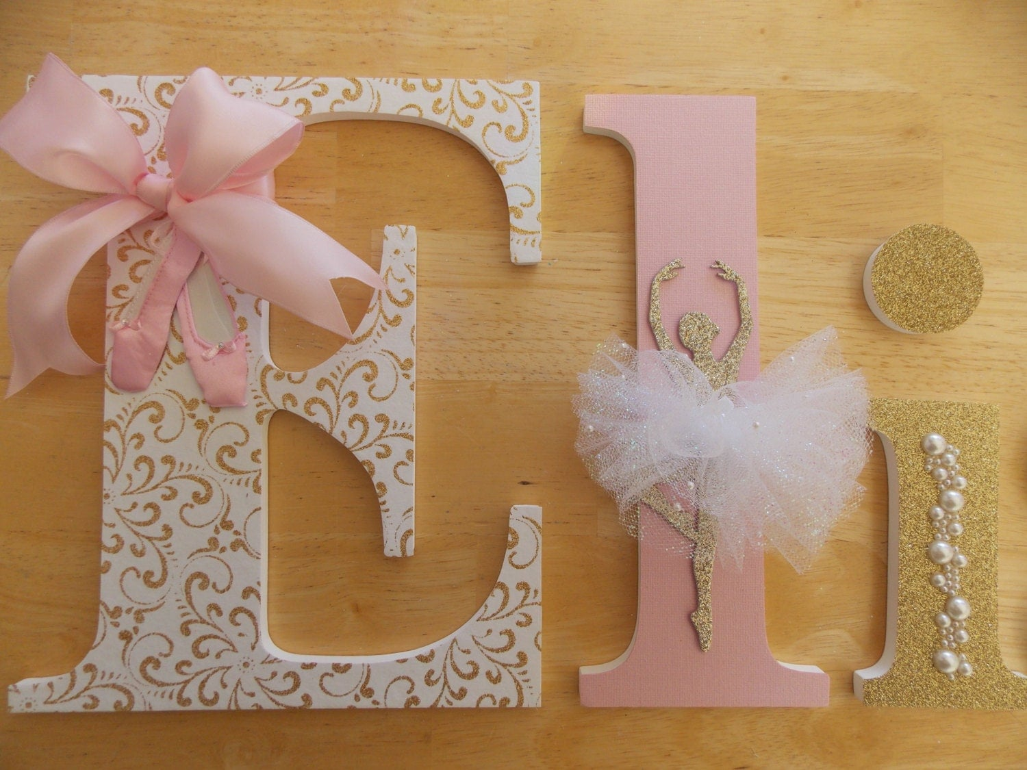 Ballerina letter set baby shower gift pink and gold letters for Decoration 5 letters
