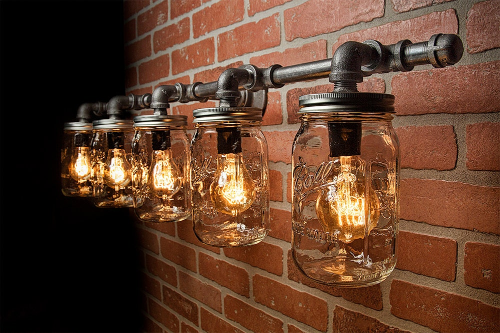 mason jar light fixture industrial light rustic light. Black Bedroom Furniture Sets. Home Design Ideas