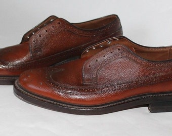 Vintage 1950s Brown Leather Wing tip Brogue Shoes 11