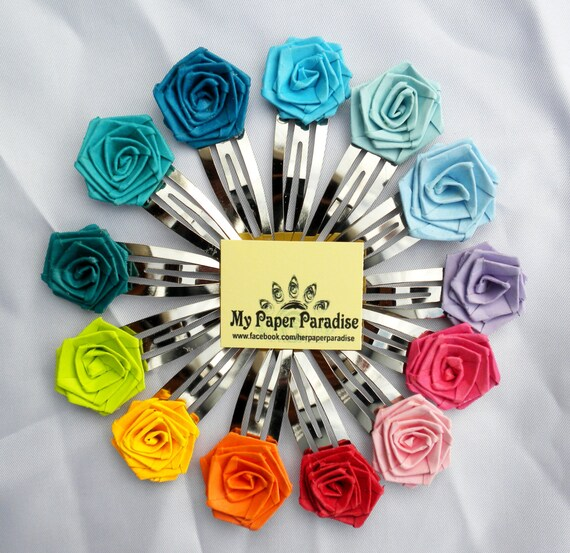 Quilled rose hair clips - hand crafted hair accessory , available in different colors and custom