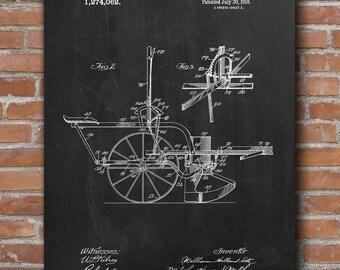 Corn Planter Patent, Corn Planter Poster, Planter Decor, Gardening Art, Patent Posters - DA0437