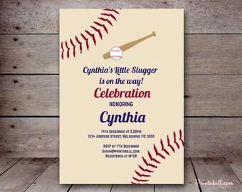 "DIY 5x7"" Editable Invitation, Vintage Baseball Baby Shower Invitation, Little Slugger, Baseball Birthday Invitation PT02"