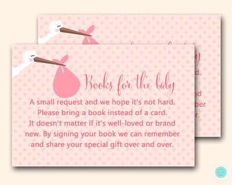 Books for the Baby Inserts, Bring a book instead of card printable, Baby Girl, Pink Stork Baby Shower Game, Stork Baby, Girl Stork TLC458P