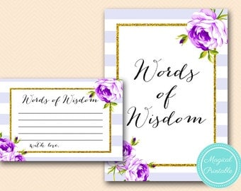 Words of Wisdom Cards, Advice Cards, lavender, purple Bridal Shower Game Printable, Baby Shower words of wisdom, Wedding  BS411 TLC411