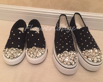 Glitter Rhinestone Canvas Shoes Custom Adult&Children Shoes Clean Swarovski Rhinestone Bling out Canvas Shoes PARENT-CHILD