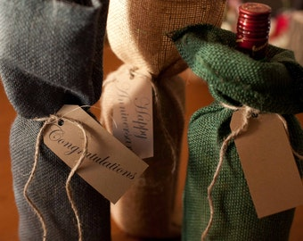Burlap Wine Bottle Gift Bags