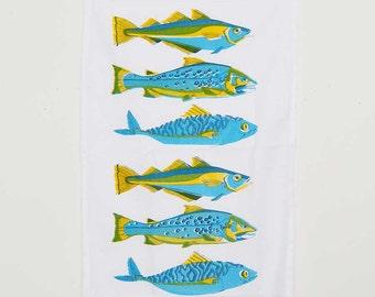 Hand Screen Printed Cotton Tea Towel - Colourful Fish