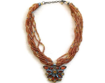 Brown beaded necklace/beaded multistrand necklace / boho beaded necklace/bohochic necklace/boho brown necklace/boho multistrand necklace