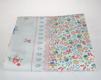 Simple Bed Flat Sheet - Vintage Cotton-Polyester  Sheet - Floral Flowers Sheet - by Sears - Canada