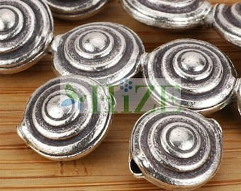HIZE SB301 Thai Karen Hill Tribe Silver Swirl Circle Disc Lentil  Beads 10mm (8)
