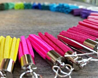 Tassel Earrings, Silver plated, dangle earrings, colourful earrings, light weight, suede tassels, leather tassels