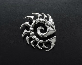 Zerg pendant inspired by StarCraft game made from white bronze