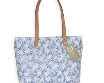 Linen Canvas Totes, Spring Floral Bag,