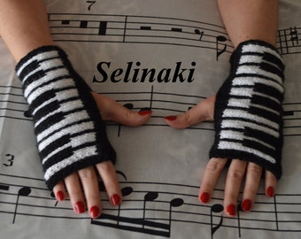 Knit Piano Fingerless Gloves Mittens Hand Wrist Warmers Music