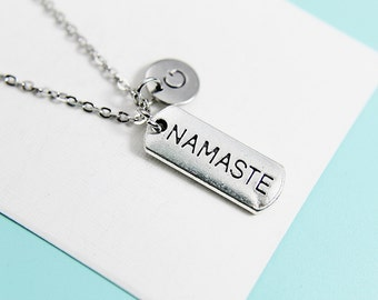 Namate Necklace Silver Namaste Pendant Charm Necklace with Personalized Initial Necklace Monogram Charm Custom Jewelry