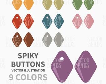 Czech Spiky Button Beads Vector Illustration - ai, eps, pdf, png