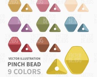Pinch Bead Clip Art Set - Beads Vector Graphics - ai, eps, pdf, png