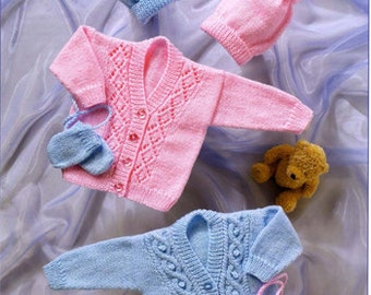 PDF Knitting Pattern- baby cardigan hat and mitts in DK- fits chest 14-22 inches